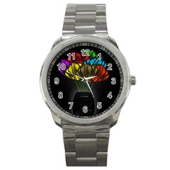 Flowers Painting Still Life Plant Sport Metal Watch