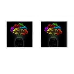 Flowers Painting Still Life Plant Cufflinks (Square)
