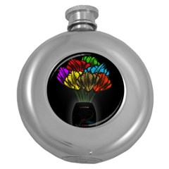 Flowers Painting Still Life Plant Round Hip Flask (5 Oz)