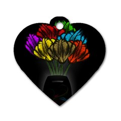 Flowers Painting Still Life Plant Dog Tag Heart (one Side)