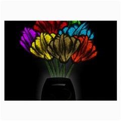 Flowers Painting Still Life Plant Large Glasses Cloth (2 Side)