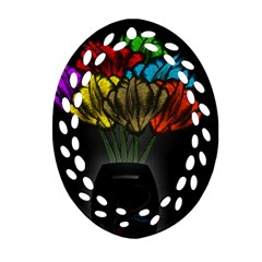 Flowers Painting Still Life Plant Oval Filigree Ornament (two Sides)