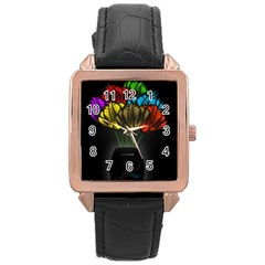 Flowers Painting Still Life Plant Rose Gold Leather Watch