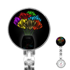 Flowers Painting Still Life Plant Stainless Steel Nurses Watch