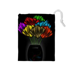 Flowers Painting Still Life Plant Drawstring Pouches (Medium)