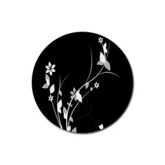 Plant Flora Flowers Composition Rubber Round Coaster (4 pack)