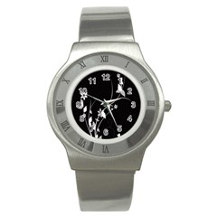 Plant Flora Flowers Composition Stainless Steel Watch