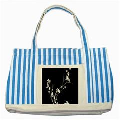 Plant Flora Flowers Composition Striped Blue Tote Bag