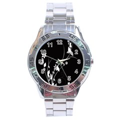 Plant Flora Flowers Composition Stainless Steel Analogue Watch