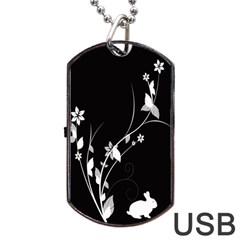 Plant Flora Flowers Composition Dog Tag Usb Flash (two Sides)