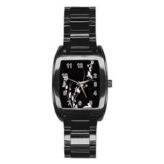 Plant Flora Flowers Composition Stainless Steel Barrel Watch