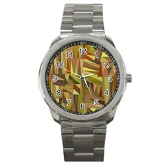 Earth Tones Geometric Shapes Unique Sport Metal Watch