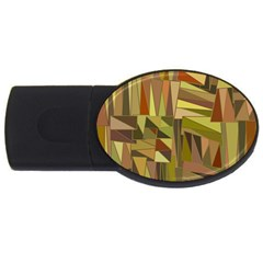 Earth Tones Geometric Shapes Unique Usb Flash Drive Oval (4 Gb)