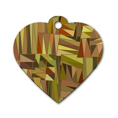 Earth Tones Geometric Shapes Unique Dog Tag Heart (one Side)