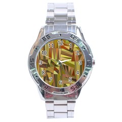 Earth Tones Geometric Shapes Unique Stainless Steel Analogue Watch