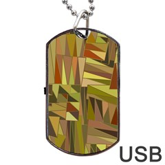 Earth Tones Geometric Shapes Unique Dog Tag USB Flash (Two Sides)