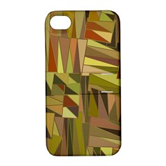 Earth Tones Geometric Shapes Unique Apple iPhone 4/4S Hardshell Case with Stand