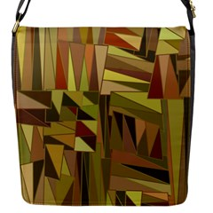 Earth Tones Geometric Shapes Unique Flap Messenger Bag (S)