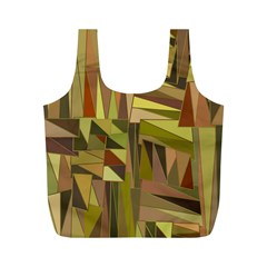 Earth Tones Geometric Shapes Unique Full Print Recycle Bags (M)