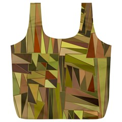 Earth Tones Geometric Shapes Unique Full Print Recycle Bags (L)
