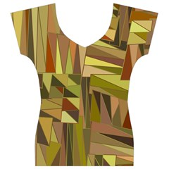 Earth Tones Geometric Shapes Unique Women s V-Neck Cap Sleeve Top