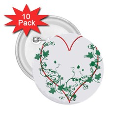 Heart Ranke Nature Romance Plant 2 25  Buttons (10 Pack)