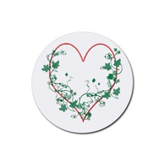 Heart Ranke Nature Romance Plant Rubber Round Coaster (4 Pack)