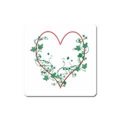 Heart Ranke Nature Romance Plant Square Magnet