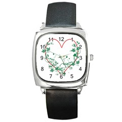 Heart Ranke Nature Romance Plant Square Metal Watch
