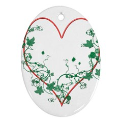 Heart Ranke Nature Romance Plant Oval Ornament (Two Sides)