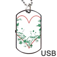 Heart Ranke Nature Romance Plant Dog Tag USB Flash (Two Sides)