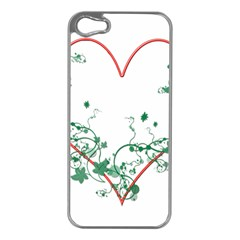 Heart Ranke Nature Romance Plant Apple iPhone 5 Case (Silver)