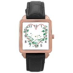 Heart Ranke Nature Romance Plant Rose Gold Leather Watch