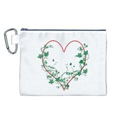 Heart Ranke Nature Romance Plant Canvas Cosmetic Bag (L)