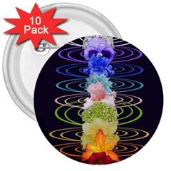 Chakra Spiritual Flower Energy 3  Buttons (10 pack)