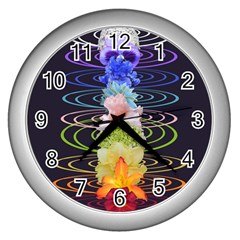 Chakra Spiritual Flower Energy Wall Clocks (Silver)