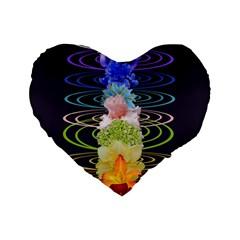 Chakra Spiritual Flower Energy Standard 16  Premium Heart Shape Cushions