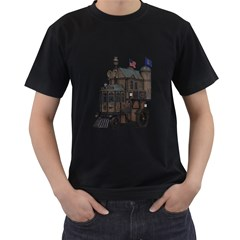 Steampunk Lock Fantasy Home Men s T-Shirt (Black) (Two Sided)