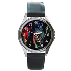 Abstraction Dive From Inside Round Metal Watch
