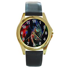 Abstraction Dive From Inside Round Gold Metal Watch