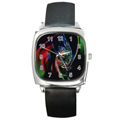Abstraction Dive From Inside Square Metal Watch