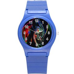 Abstraction Dive From Inside Round Plastic Sport Watch (S)