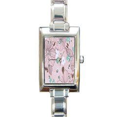 Background Texture Flowers Leaves Buds Rectangle Italian Charm Watch