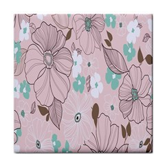 Background Texture Flowers Leaves Buds Tile Coasters