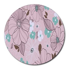 Background Texture Flowers Leaves Buds Round Mousepads