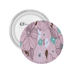 Background Texture Flowers Leaves Buds 2.25  Buttons