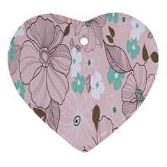 Background Texture Flowers Leaves Buds Ornament (Heart)