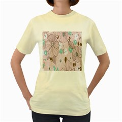 Background Texture Flowers Leaves Buds Women s Yellow T Shirt