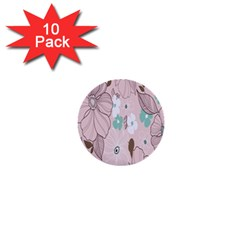 Background Texture Flowers Leaves Buds 1  Mini Buttons (10 pack)