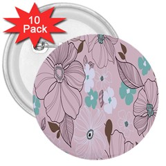 Background Texture Flowers Leaves Buds 3  Buttons (10 Pack)